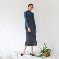 Stripe pattern long leeveless one-piece