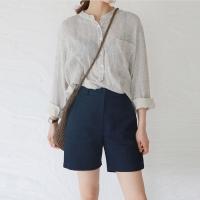 Linen simple half pants