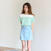SQUARE STRIPED TEE-GREEN