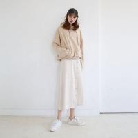 Linen button point wrap skirt