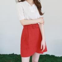 Round belt wrap mini skirt