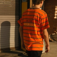 UNISEX ALIVE STRIPE T-SHIRT atb144u(Orange)