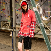 BOY HOODIE CHECK SHIRT atb133m(Red / Gray)