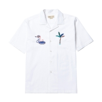 [8/31] TROPICAL LOGO OPEN COLLAR 1/2 SHIRT WHITE