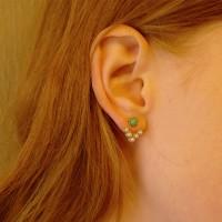 V Pearl Stone Earring