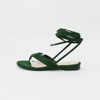 Lace up suede flat sandals