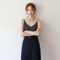 Stripe pattern linen sleeveless