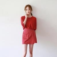 Check charming unbal skirt