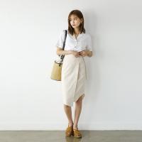 unbalance linen wrap skirt