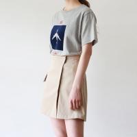 Wrap zipper detail skirt