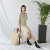 linen minimal wrap skirt