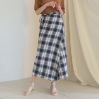Check long wrap skirts