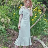 러브핫핏 x 무드므아 콜라보레이션 Apron long pleats linen dress
