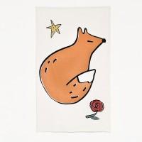 [Fabric] Big Animal - 생각하고 있는 여우 illust cut Linen
