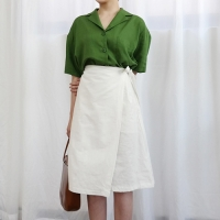 Linen wrap banding skirt