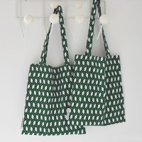 raffia green bookstore bag
