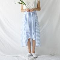 unbalance stripe long skirt