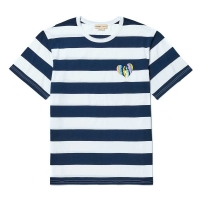 TROPICAL NOMANTIC STRIPE 1/2 T-SHIRT NAVY