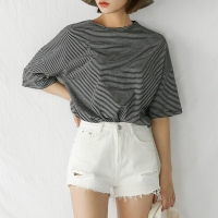 wide neck stripe tee