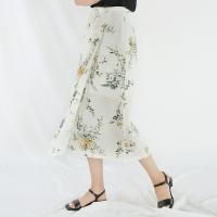 flower ribbon long skirt