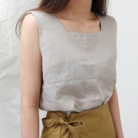 Linen square sleeveless top