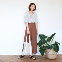 Button long flare pants