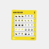 아시아 푸드 아이콘 스티커 세트 (1SET-2p)