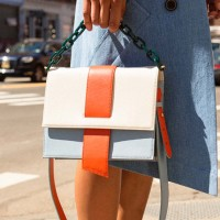 AGNES COLOR BLOCK CHAIN BAG aaa049w(Orange / Ivory)