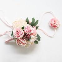 핑크 로즈피오니 플라워부케꽃팔찌세트_(504943)