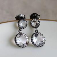 백수정 블랙 파티 귀걸이 quartz black party earring