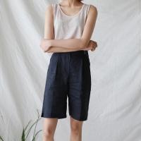 Banding linen shorts