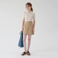 Banding button skirt pants