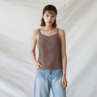 Square-neck knit sleeveless