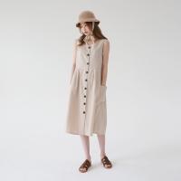Long button sleeveless one-piece