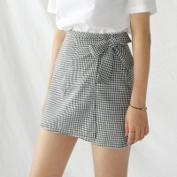 check mini wrap skirt