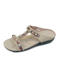kami et muse Gold frame pearl chain mini wedge slippers_KM17s293