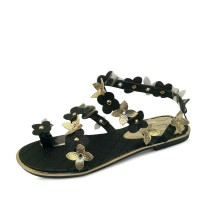 kami et muse Gold flower strap flat sandals_KM17s292