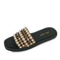 kami et muse Gold stud & pearl beads punching slippers_KM17s288
