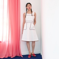 Piping Square Dress in White