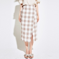 [YAN13]CHECK WRAP SKIRT_BEIGE