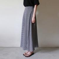 Black check long skirt