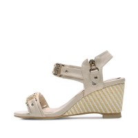 kami et muse Fine gold chain mash wedge sandals_KM17s311