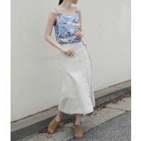 circle buckle linen skirt