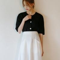 Mesh nacre button blouse