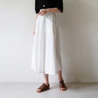 Pocket flare linen skirt