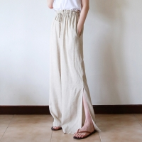 Slit wide banding pants