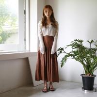 Shirring long cotton skirts