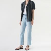 High waist straight denim pants