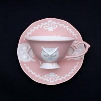 카페룸넘버1508 부엉이 홍찻잔세트 rose pastel