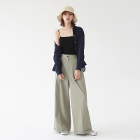 Pin-tuck wide cotton pants